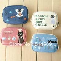 Cute cartoon cat  Double zip Coin Purses Receive bag  Zero wallet  8pcs a lot  Free shipping