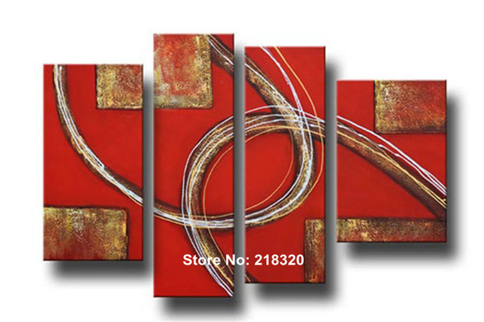 worldwide free shipping hand-painted Customized red wall art modern 4pcs large canvas painting hot sale(China (Mainland))
