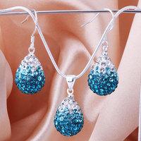 Shamballa 2013 Shambala Water Drops Crystal Pendant Necklace Earrings Set Rhinestones Ball Bead Jewelry Set S003