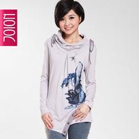 Free shipping  spring heap turtleneck irregular button sweep print long-sleeve loose t-shirt female 1709