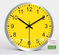 Mute Wall Clock Fashion Round Yellow Modern Time Design Gift Clock High Quality Mental Aluminum Glass Clock W01