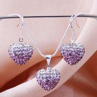 Shamballa 2013 Shambala Heart Crystal Pendant Necklace Earrings Set Rhinestones Ball Bead Jewelry Set S011