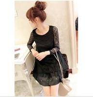 2015 new summer famous long sleeve slim dress women chiffon Floral lace black dress