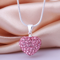 Shamballa New Arrivals 2013 Shambala Heart Crystal Pendant Necklace Top Quality Rhinestones Ball Bead Jewelry N023