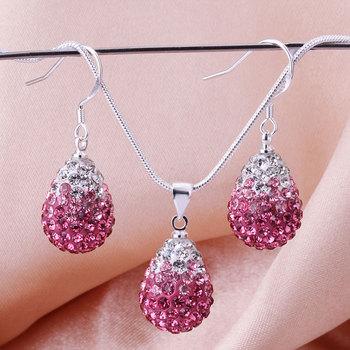 Shamballa 2013 Shambala Water Drops Crystal Pendant Necklace Earrings Set Rhinestones Ball Bead Jewelry Set S007