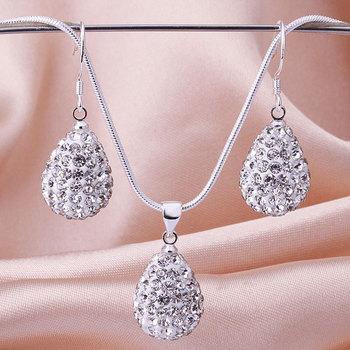 Shamballa 2013 Shambala Water Drop Crystal Pendant Necklace Earrings Set Rhinestones Ball Bead Jewelry Set S028