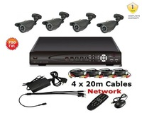 Freeshipping,4CH DVR Kit: 4CH DVR + 4 Waterproof Cameras + 4*60FT Cables+ Power, 700TVL 4CH D1 DVR SYSTEM(500GB SATA HDD OPTION)