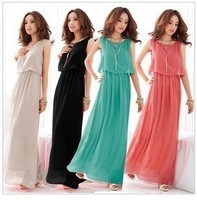 Free Shipping 2013 Hot Women Ladies Princess BOHO Pleated Wave Lace Strap Chiffon Maxi Long Dress