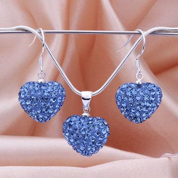 Shamballa 2013 Shambala Heart Crystal Pendant Necklace Earrings Set Rhinestones Ball Bead Jewelry Set S039