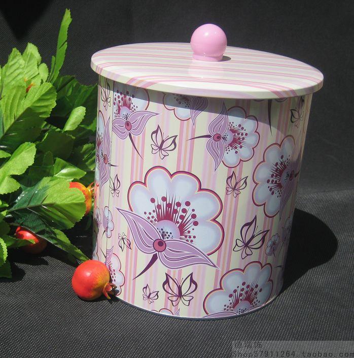 Sealed cans pehcans cookie jar round tin tea caddy tin 6 horizontal stripe flower(China (Mainland))