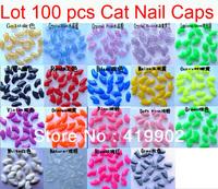 New 100pcs Soft Cat Pet Nail Caps Claw Control Paws off + Adhesive Glue Size XS S M L