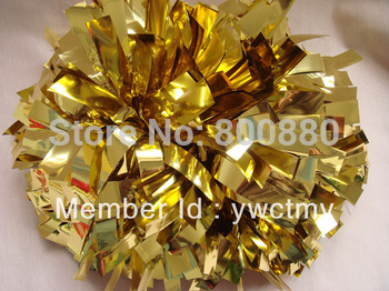 "wholesale client 6"" PET metallic  gold baton handle cheerleading pom poms  free shipping"