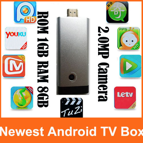 Newest B13 Mini PC RK3066 Dual Core Android Smart TV Stick BOX Built-in Bluetooth MIC 2.0MP Camera XBMC 1GB 8GB Skype AV Output