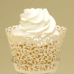 hot selling free shipping 120 pcs/lot White Filigree Laser Cutt ivy vine Wedding Cupcake Wrappers muffin wraps(China (Mainland))