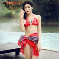 Free shipping Hot spring girls swimwear 1 sets swimwear 2013 sweet flower handmade embroidery bikini swimwear ezi7028