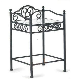 Rustic iron bedside chair fashion iron bedside cabinet wrought iron table glass(China (Mainland))