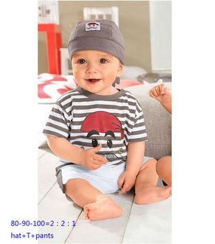 Free Shipping summer baby boys suit blue hat+T+pants boy 3pcs set suit male treasure beach 3 piece suit casual cotton suit 127