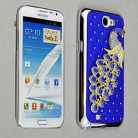 Luxury Peacock Crystal Bling Skin Case Cover for Samsung Galaxy Note 2 N7100 (Blue  )