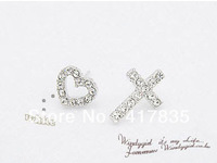 2013 Full of diamond heart cross asymmetric earrings cross earrings peach heart earrings Fashion earrings jewelry