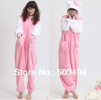 Free Shipping Autumn and Winter Siamese Animal Cartoon Pajamas for Women Pink Cat Face Hello kitty Coral Velvet Kigurumi Pajama