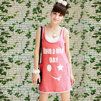 2013 spring and summer flash red  Letter printing dress