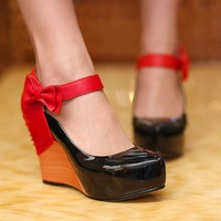 2013 spring japanned leather bow color block decoration women's wedges shoes single shoes ss q953-2 88