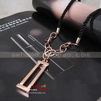 Cutout geometry slitless square lock titanium 14k rose color gold long design black rope sweater necklace female