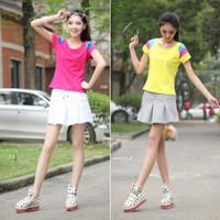 Summer sports set women's badminton tennis ball dress fashion 100% cotton t-shirt skorts set