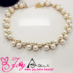 Min. Order is $5 Rhinestone Shell Pearl Necklaces Wedding Necklace Luxury Crystal Pearl Chocker Necklaces Freeshipping SRN047(China (Mainland))