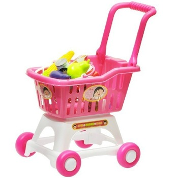 2014 Special Offer Sale Plastic for Pink 2-4 Years Furniture Toys Set 1:32 Child Toy Supermarket Shopping Cart Trolley Fruit