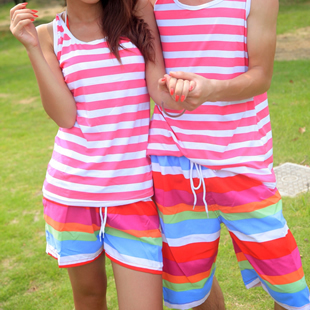 2014 New Lovers Shorts Summer the beach stretch Surf Rose Pink Stripe Women Short Pants Factory supply Free shipping(China (Mainland))