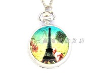 White steel tower enamel pocket watch series necklace pocket watch rahb959
