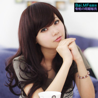 Free shipping Fashion broken oblique bangs wig girls long roll long roll of fluffy girls dull wifing