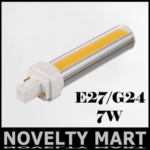 Novel Design PL Lights G24 E27 7W COB LED Corn bulbs light Horizontal Plug lamps Free shipping NM0162(China (Mainland))