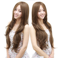 Female wig long curly hair fluffy repair oblique bangs , long curly hair roll high temperature dull wig