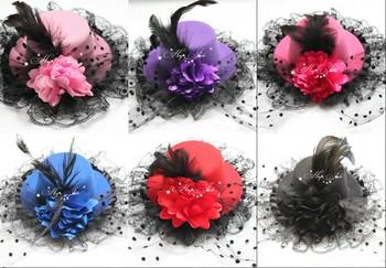 Pretty flower hat Feather Lace Hair Clip Mini Top Hat 12pcs/lot
