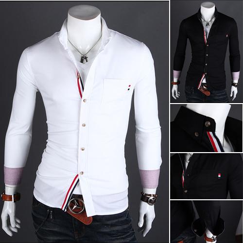 2014 New Men's Luxury Stylish Slim Fit Casual Shirt Tuxedo Shirts Mens Stylish Shirts Men's Dress Shirts Black/White Size:M-XXL(China (Mainland))
