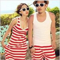 2013 lovers summer beach wear stripe tank dress one-piece dress beach dress full dress