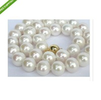 """hot AAA+ 12-13mm South Sea WHITE pearl necklace 18""""14k +box"""