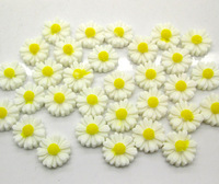 100 White Resin Flower Beads Cabochon Scrapbook Fit Phone Embellishments