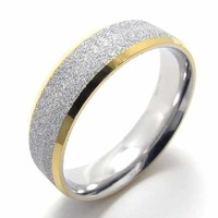 Fashion Jewelry Stainless Titanium Steel Rings Gold Edge Circle Dull Polish Couple Rings Wedding Engagement Rings 20810