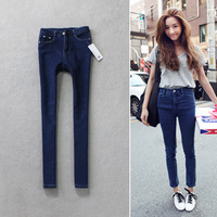 Fashion vintage 2012 small high waist slim elastic stovepipe pencil 100% cotton jeans