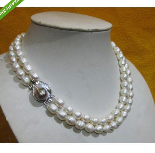 RARE AKOYA WHITE baroque PEARL NECKLACE 2rows(China (Mainland))