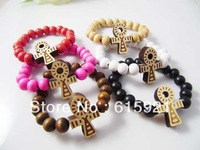 Hip-hop Style Wooden Rosary +Ankh Cross Bracelet, Good Wood, Best Gift GW-021