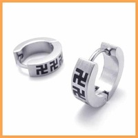 Free Shipping Fashion Jewelry Stainless Titanium Steel Cirle Simple Cross Swastika Men's Hoop Earrings 19688