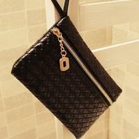 2013 women's Clutch Evening bag fashion PU leather purses and handbag faux weave drop shipping 2PCS/LOT
