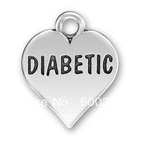 free shipping 15pcs a lot fashion zinc alloy heart shape diabetic charm jewelry accessory