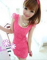 free shipping sexy slim eveing flower lace dress women chiffon prom cute pink dress
