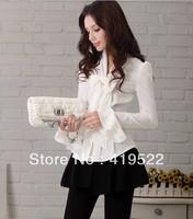 2013 autumn new elegant lines bow Slim models long-sleeved shirt S - XXL black white