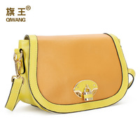 women's lady handbag sweet color block cowhide genuine leather cross-body small bag young girl messager wholesale free shipping